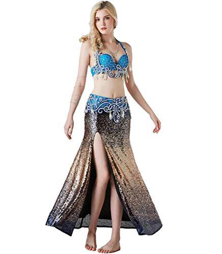 Kostüm Nach Tanz Maß - NANXCYR Bauchtanz Rock Kostüm Bollywood Kleid Langen Rock Halloween Tribal Chiffon Dance Outfit Diamant Perlen BH Zweiteilige Lob Tanzkleider für Frauen,L