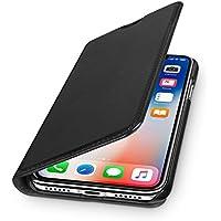 "WIIUKA Echt Ledertasche ""TRAVEL"" Apple iPhone X mit Kartenfach - kabelloses Laden Qi - extra Dünn Tasche Schwarz Premium Design Leder Hülle"