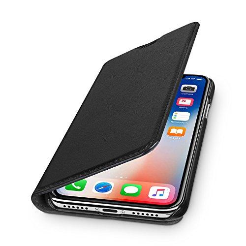 WIIUKA Echt Ledertasche - TRAVEL - für Apple iPhone X und XS mit Kartenfach, kabelloses Laden Qi, extra Dünn Tasche Schwarz Premium Design Leder Hülle