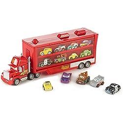 Disney Pixar Cars Véhicule Camion Transporteur Mack pour Transporter Jusqu'à 12 Mini-véhicules, 5 Mini Voitures incluses, Jouet pour Enfant, Frp09