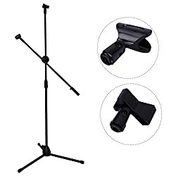 CAHAYA Mikrofon Ständer, Mikrofon Bodenstativ Folding Einstellbarer Mikrofon Stativ mit Klemme - Schwarz