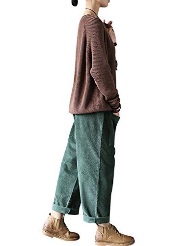 Youlee Damen Vordere Taschen Elastische Taille Baumwolle Cordhose Stil 1 Dunkelgrün