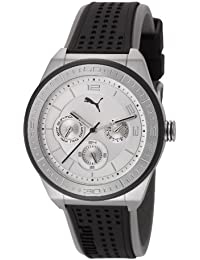 Puma Motorsport Edge - Small Unisex Quartz Watch with Silver Dial Analogue Display and Black Plastic or PU Strap PU102912004