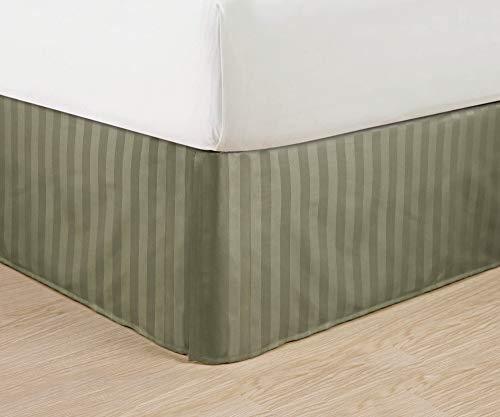 terfreie-Ägyptische Qualität Streifen Bett Rock-plissiert Tailored 35,6cm Drop-alle Größen und Farben, Queen, grün ()