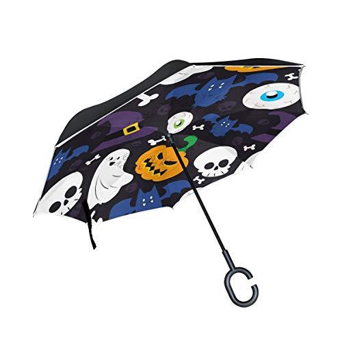 ALINLO Umkehrbarer Regenschirm, Halloween-Hintergrund, Kürbis-Schädel, doppelschichtiger Rückwärtsschirm, wasserdicht für Auto, Regen im Freien, mit C-förmigem Griff
