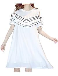 Verano Mujer Embarazada Corto Vestido de Playa Mujeres Casual Suelto Cuello Redondo Manga Corta Vestido de