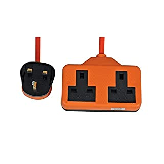 Invero® 2 Way Gang Rubberised Plastic Double Socket Power Mains Extension Lead 15M Metre Cable British Approved 13A - Orange