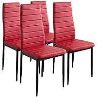 albatros 2704 milano lot de 4 chaises de salle manger rouge