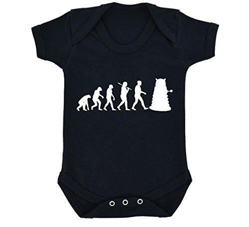 Evolution of a Cyborg Mutant Design Baby Body Schwarz mit weißem Druck Gr. 6-12 Monate, schwarz