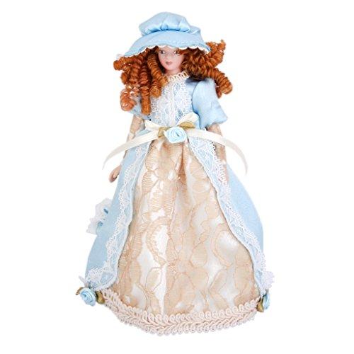 1:12 Puppenhaus Miniatur Victorian Dame Puppen Blau Kleid mit Hut