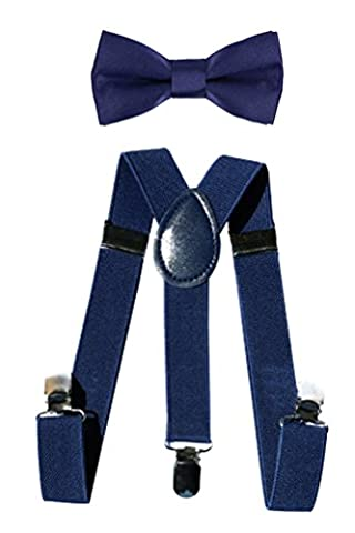 BecyWell Toddler Kids Suspenders and Bow Tie Set Baby Party Dress Up Navy Blue