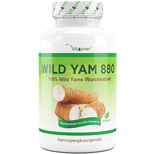Vit4ever® Wild Yam Wurzel Extrakt - 180 Kapseln - 20% Diosgenin - 880 mg pro Tagesportion - Laborgeprüft - 100% Mexican Wild Yam - 3 Monatsvorrat - Hochdosiert - Vegan