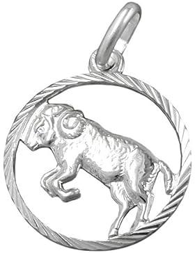 Unbespielt Unisex Kettenanhänger Anhänger Sternzeichen Widder aus 925 Silber Abmessung 15 mm