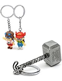 Three Shades Thor Hammer Marvel Avengers Superhero Silver Design Key Chain & College Couple Keychain (Bike & Car)