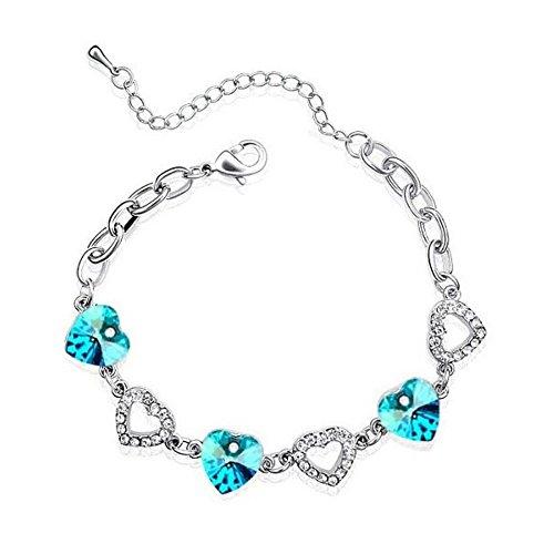 Bracelet suite de coeurs cristal swarovski elements plaqué or blanc Bleu turquoise