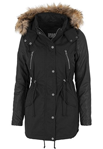 Urban Classics - Jacke Leather Imitation Sleeve Parka, Giacca Donna, Nero (Schwarz), X-Small (Taglia Produttore: X-Small)