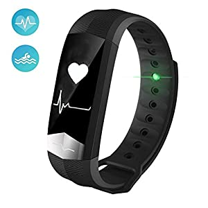 Pawaca Waterproof Fitness Tracker Blood Pressure Monitor ECG Heart Rate Monitor, Touch Screen Bluetooth Smart Watches Band Activity Tracker Wristband with Pedometer Sleep Monitor, for Android IOS