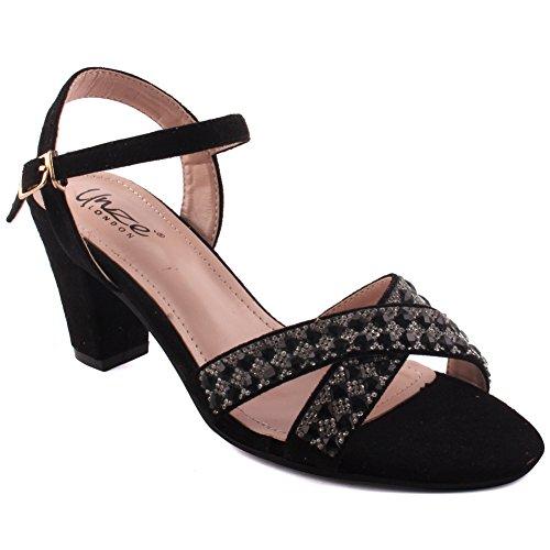 Unze New Women Ladies 'Glori' Open Toe Cristal Diamante Adorned Bas Moyen Talon Kitten Soirée, Mariage, Prom & Party Sandales Chaussures Taille 3-8 Noir