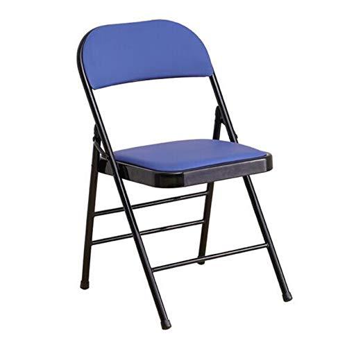 QIDI Klapphocker, Klappstuhl, Bürostuhl, Computerstuhl, Schulungsstuhl, Leder, Leicht zu tragendes Haushaltsbüro - 43 * 46 * 79cm - Schwarz/Blau (Farbe : Blau)