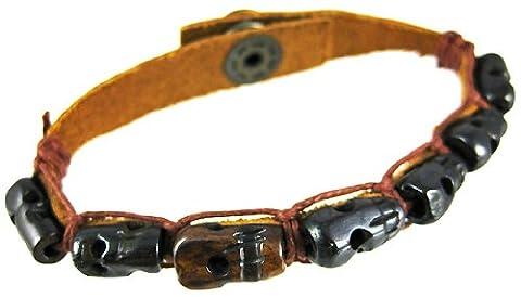 Carved Bone Skull Bead Brown Leather Bracelet