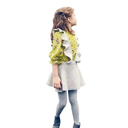 Longra Herbst Kleinkind Mädchen Kinder Baby Strick Pullover Kleid Solid Ärmellosen Rüsche Kleid Strickjacke Strick Kleider Prinzessin Kleid Minikleid Kinder Kleidung (2-6Jahre) (130CM 6Jahre, Gray)