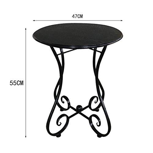SZQ Couchtisch, Balkon Wohnzimmer Restaurant Bar Tisch Kleiner Esstisch Eisen Kunst Holz Runder Tisch Größe 40-60CM Exquisites Handwerk (Farbe : C, größe : 47 * 55CM) (Handwerk-holz-eisen)