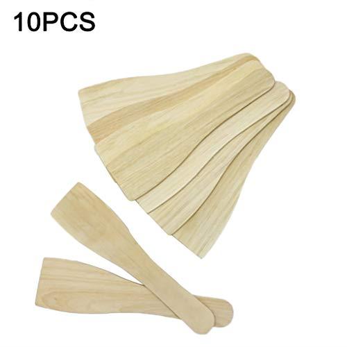 fish 10PCS Natural Wooden Pot Shovel Kitchen Cooking Utensils Non Stick Pancake Turner Long Handle Spatula Lange Turner