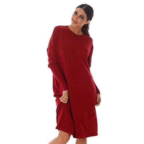 VOYELLES Damen Pullover im Oversized Stil, in vielen Farben erhältlich, Größe 36-42 Rot