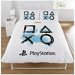 Sony Playstation Parure pour Couette, Polycoton, Blanc, Double