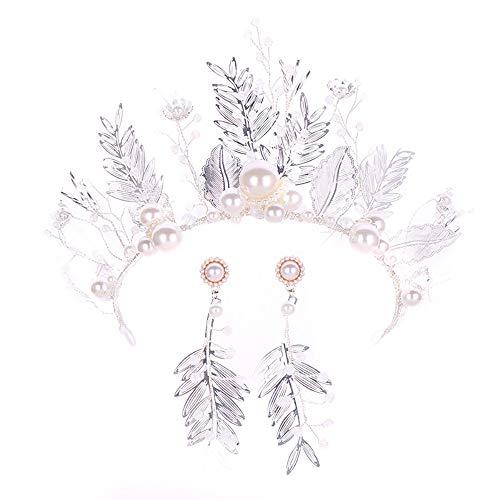 roroz Silber Brautkrone, Prinzessin Barock Krone Stirnband, Braut Haarschmuck Hochzeit Prom Alloy Pearl Blattform Queen Crown Sets,Silver (Kostüm Queen Ideen Prom)