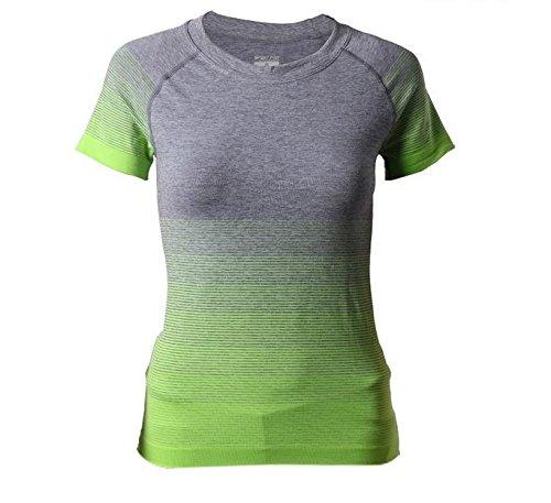 Hippolo Damen T-Shirt Sport Shirt Farbverlauf Shirts Sportbekleidung Laufshirt Freizeit Top Oberteil Kurzarm Rundhals (L, Grün)