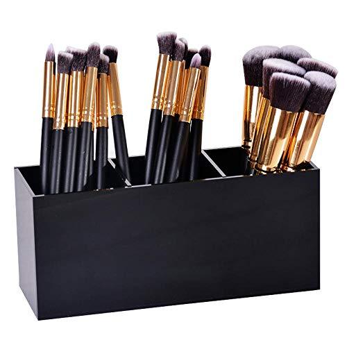 Pinsel Mascara Waschbar (love+djl Cosmetic Storage Box 3 Gitter Acryl Make-Up Veranstalter Pinsel Mascara Lippenstift Ständer Fall Schmuckschatulle Kosmetik Halter Aufbewahrungsbox Fall @ Schwarz)