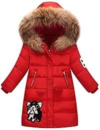 f7265ef345e54 LSERVER Enfant Fille Doudoune Mi Longue Manteau à Capuche Fourrure Epaisse  Chaud Veste d hiver