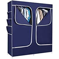 Everything Imported 5 feet (navy blue) Folding Wardrobe Cupboard Almirah Foldable Storage Rack Collapsible Cabinet