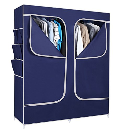 Everything Imported 5 feet (navy blue) Folding Wardrobe Cupboard Almirah Foldable Storage Rack Collapsible Cabinet  available at amazon for Rs.1799