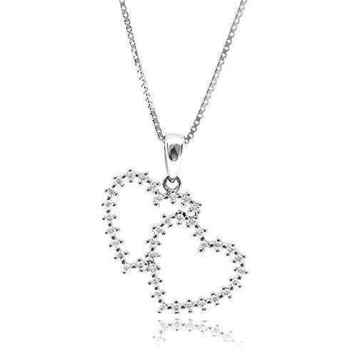 Gioiello italiano collana in argento doppio cuore gabriella silver