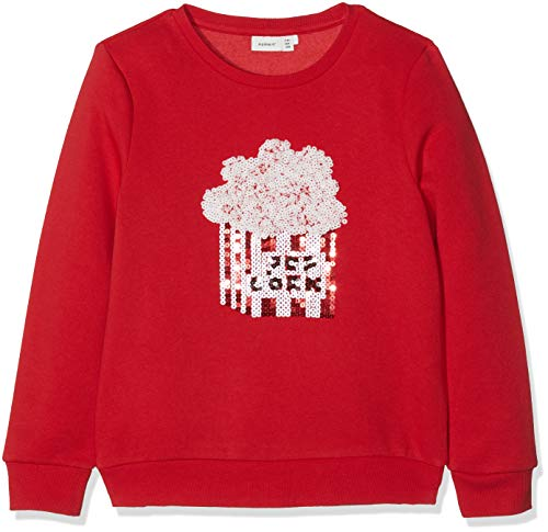 NAME IT Mädchen NKFNINAS LS Sweat BRU Sweatshirt, Rot True Red, 146 -