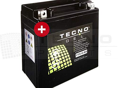 TECNO-GEL Motorrad-Batterie YTX16-BS, 12V Gel-Batterie 14Ah (DIN 51490), 150x87x161 mm inkl. Pfand