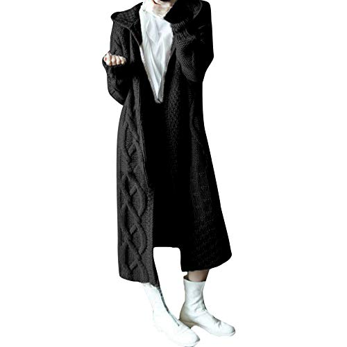 CAOQAO Damen Winter Einfarbig warme Oberbekleidung Sweatshirt, Outdoorjacke Langer Mantel Damen Hoodied Umbilical Twist Strickjacke