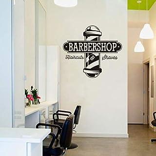 yoyoyu art home decor yoyu AY1117 Wandaufkleber, Vinyl, Friseur Friseur Friseur Friseur Barbershop Logo, für Fenster, Wand 57X62CM schwarz