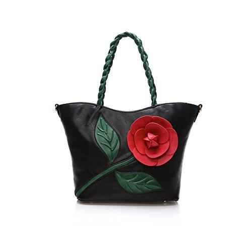 Taschen Handtaschen Damen Einfach Henkel Tasche Elegant wasserdichte Handtasche Kunstleder Schultertasche Schwarz