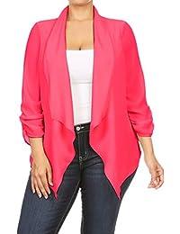 2LUV Women's 3/4 Draped Sleeve Plus Size Loose-Fitting Open-Front Blazer Blush 1XL (GJ8261)