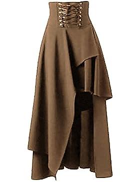 Las faldas de Steampunk de las mujeres de cintura alta de la vendimia atan para arriba falda maxi baja alta