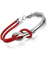 Flongo pulsera roja de suerte s¨ªmbolo infinito, pulsera de cuero y acero inoxidable sencillo elegante para mujer hombre
