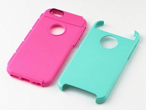 fas1 2 en 1 Shield Coque hybride double couche rigide pour iPhone 6/6S Plus 14 cm doux Coque rigide en TPU/PC(Mint/Rose)