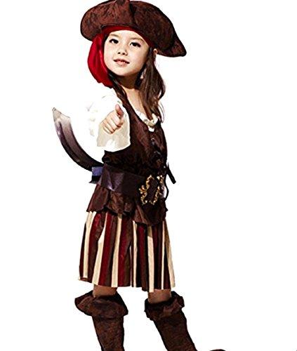 Jahre - Kostüm Verkleidung Karneval und Halloween von Pirat Korsar von dem Meere Karibik Farbe Braun weibliches Kind (Piraten Kostüme Ideen)