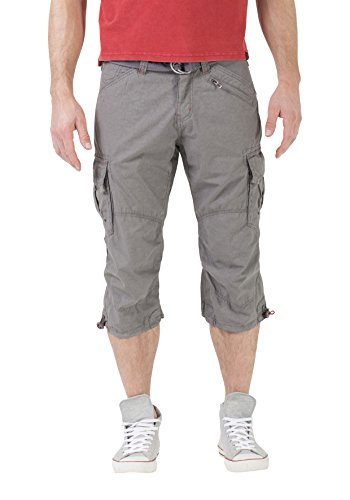 Timezone Herren Shorts Loose Miles 3/4 Cargo Incl. Belt, Grau (Grey Crystal 8006), W31 (Cargo Slim Shorts)