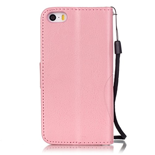 Mk Shop Limited Etui iPhone 5/5S Luxe PU Cuir Coque Housse Portefeuille Dragonne Case Cover de Protection Swag Shell avec Fonction Support Gaufrage Motif avec Diamant pour Apple iPhone 5/5S Multi-couleur 7