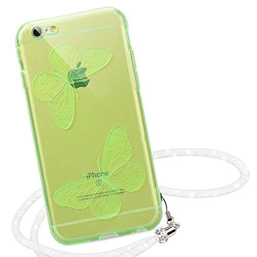Yokata Coque iPhone 6S Plus, Etui iPhone 6 (5.5 pouces) Plus Motif Papillon Beau Case avec Landyard Blanc Souple Housse Étui Silicone Soft Doux Bumper de TPU Flexible Backcover Ultra Mince Coque de Pr vert Clair