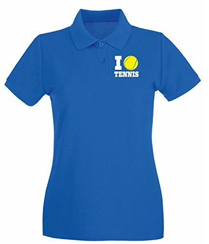 T-Shirtshock - Polo pour femme TLOVE0140 i love tennis (3) Bleu Royal